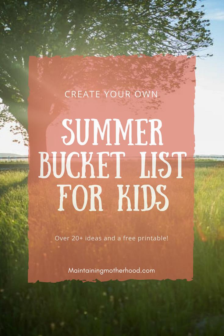 Summer Bucket List | Summer Bucket List Ideas for Kids | Summer Bucket List For Kids