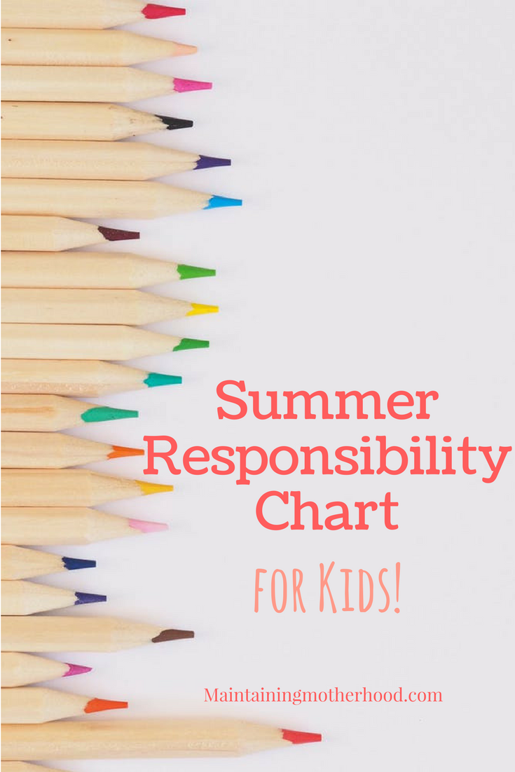 Summer Chart for Kids | Summer Responsibility Chart | Summer Chart Free Printable