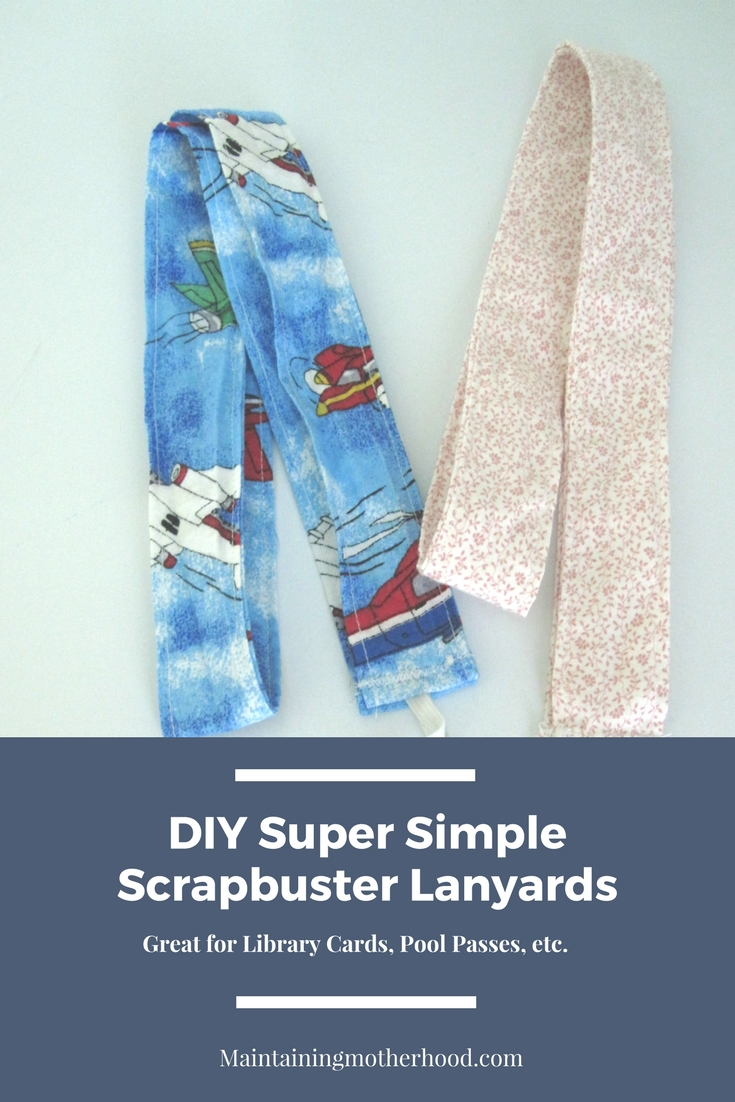 Are you tired of losing Library cards? Here's a DIY scrapbuster lanyard to help you and your kids keep track of them!