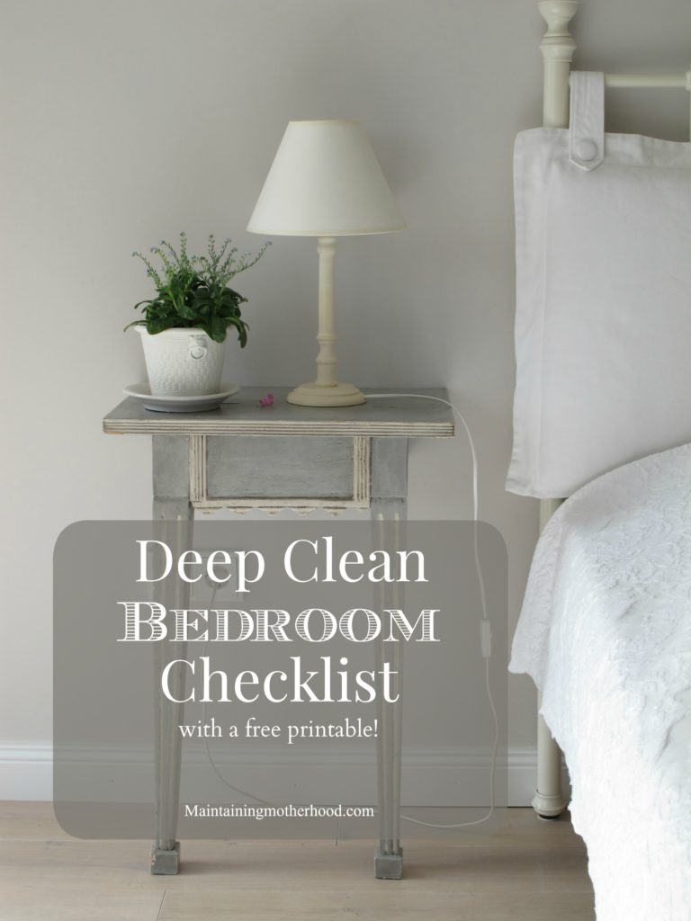 This month's challenge is to deep clean bedrooms. Follow the free printable so you don't miss any steps in keeping your bedrooms clean and organized!