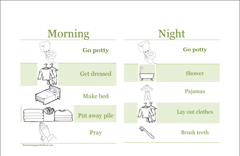 Going through the list of things to do over and over in the morning gets old. Use responsibility charts to get kids ready in the morning with no nagging!