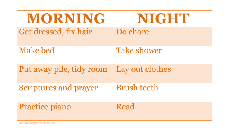 "Going through the list of ""did you's"" in the morning gets old. We have responsibility charts to help kids get ready with no nagging from me in the morning."