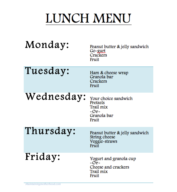 Having a rotating lunch menu has simplified our mornings so much! The kids make their own lunches without me worrying about what they're eating.