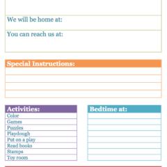 Babysitter Info Sheet