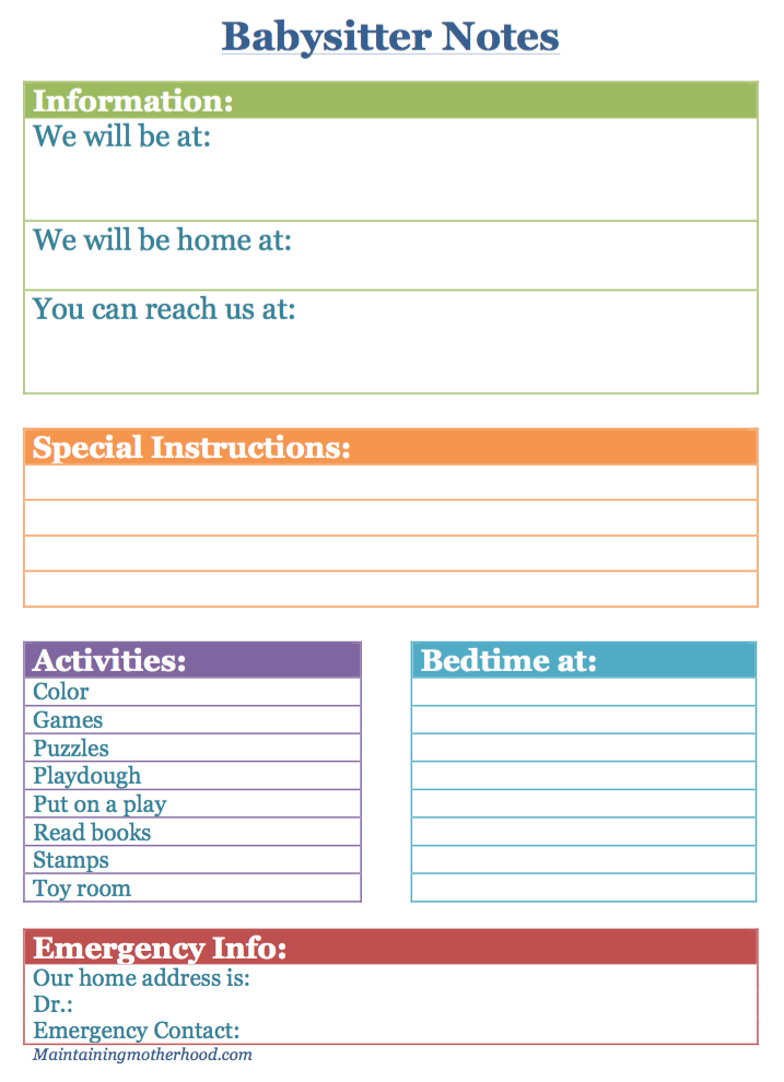 Need an easy way to leave your babysitter with all necessary information? Simply fill out your babysitter information sheet and you're good to go!