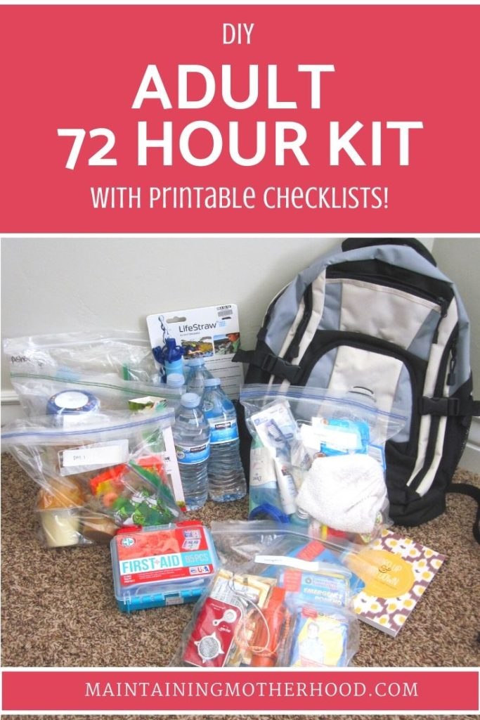 Are you prepared? Do you have 72 Hour Kits? Follow the simple checklist and menu plan to put together everything you need for your Adult 72 Hour Kit today!