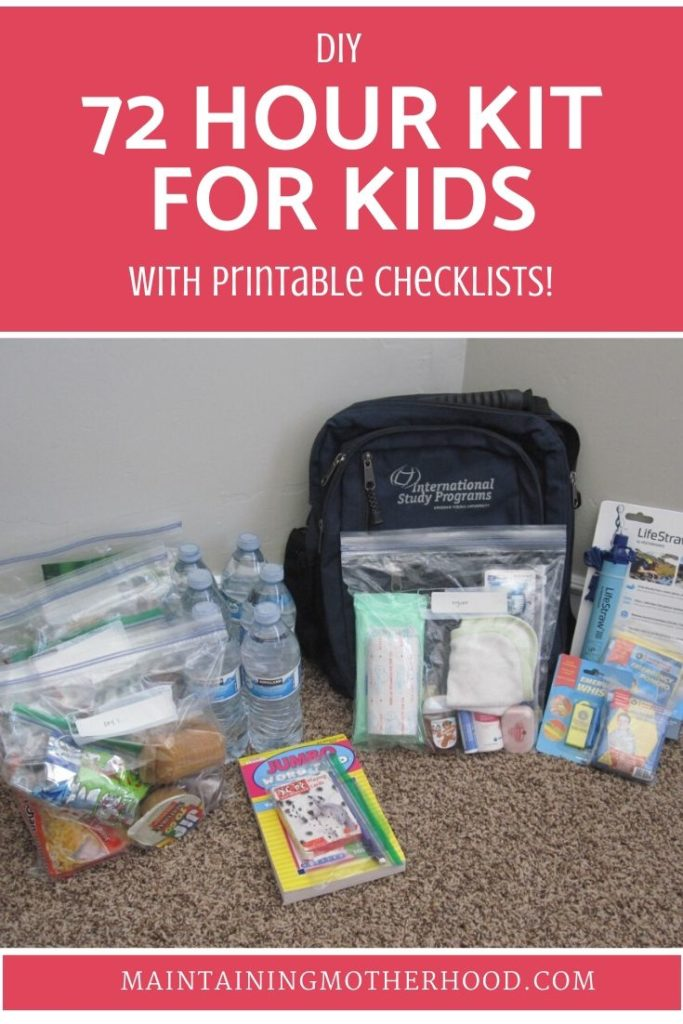 Do you have 72 Hour Kits for your family? Follow the simple checklist and menu plan to put together everything you need for a 72 Hour Kit for Kids today!