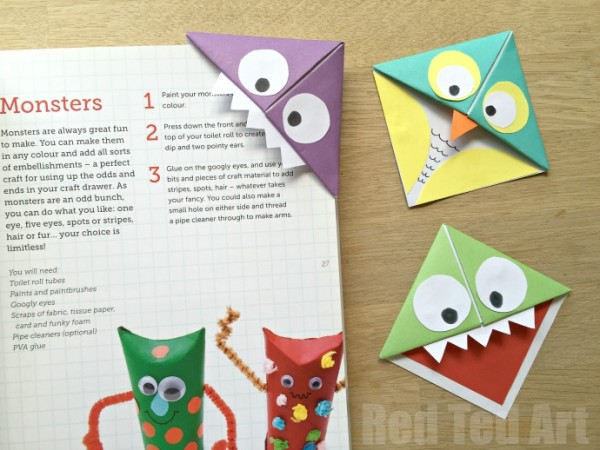 Easy-Origami-Corner-Bookmark-How-To-turn-them-into-Monsters-Owls-and-wherever-your-imagination-takes-you.-A-great-little-gift-for-book-lovers-on-Fathers-Day-600x450