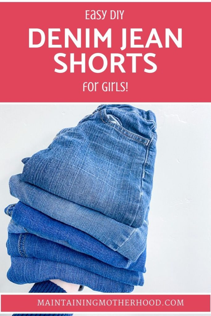 Looking for some comfortable and durable jean shorts? Why not use your favorite jeans with the worn out knee for some great DIY denim jean shorts?