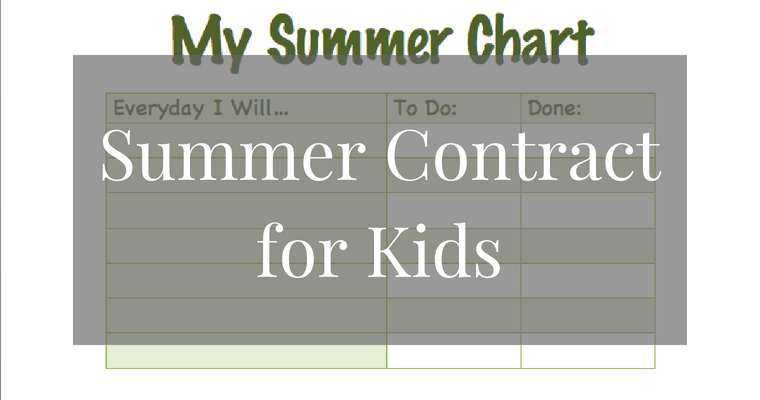 Summer Contract for Kids