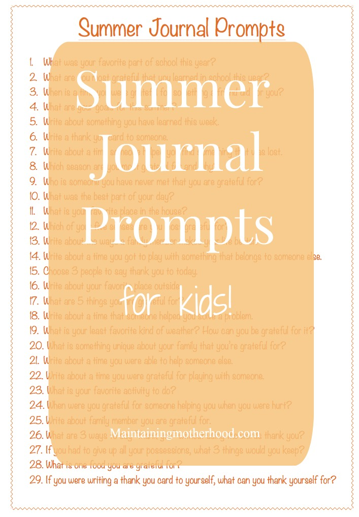 Looking for a way to help your kids improve their handwriting and increase their gratitude over the summer? Try these Summer Journal Prompts for Kids!