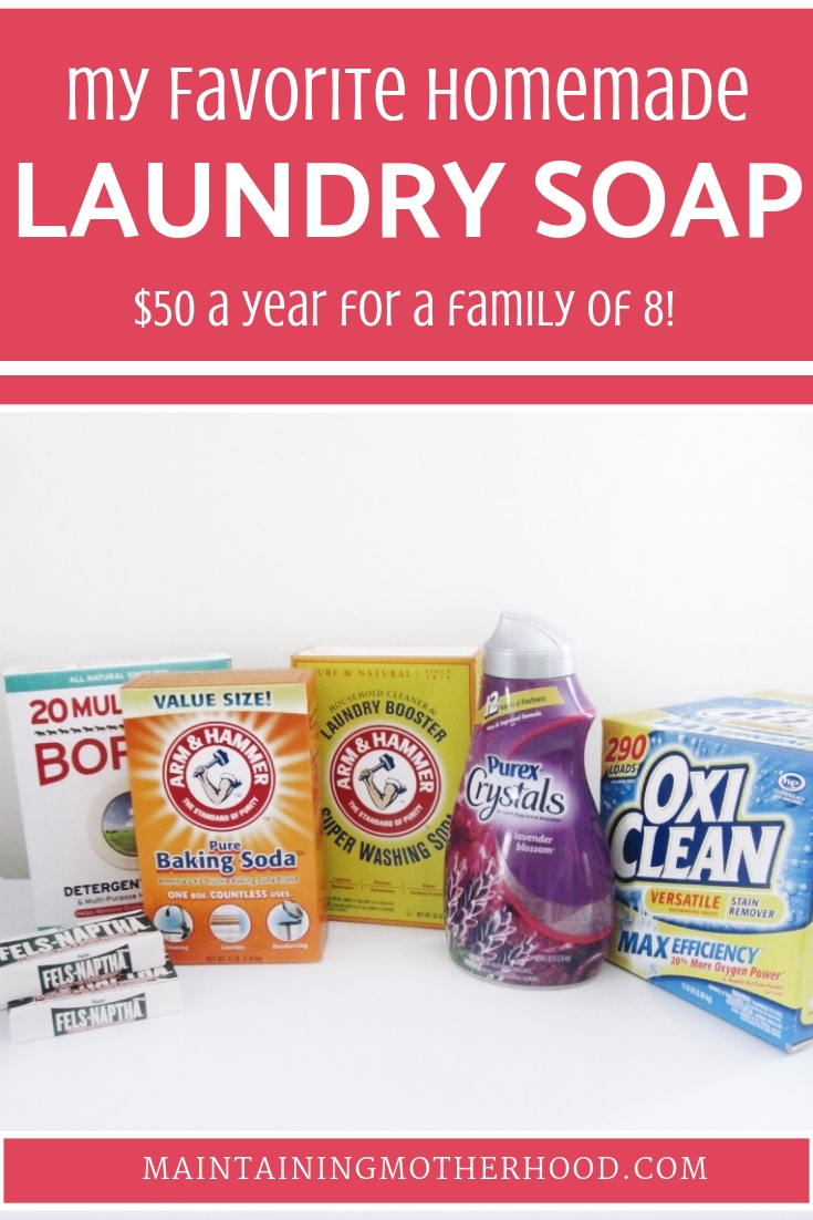 Want to save BIG bucks on laundry? Making your own laundry soap can bring your costs to under $50 for the year! Try this Easy Homemade DIY Laundry Soap.