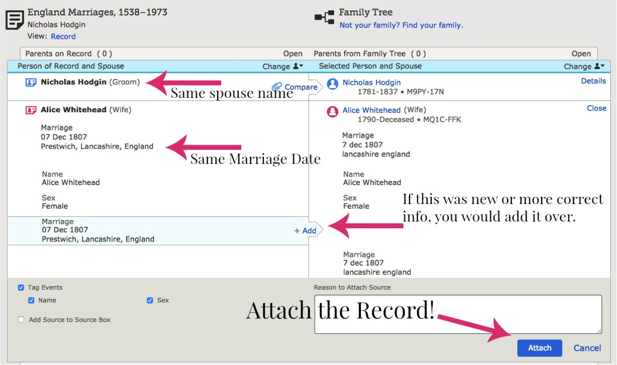 Are you confused about attaching a Record Hint in FamilySearch? Learn all about Record Hints: why they are important, and how to find and attach them!