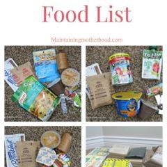 72 Hour Kit Food List