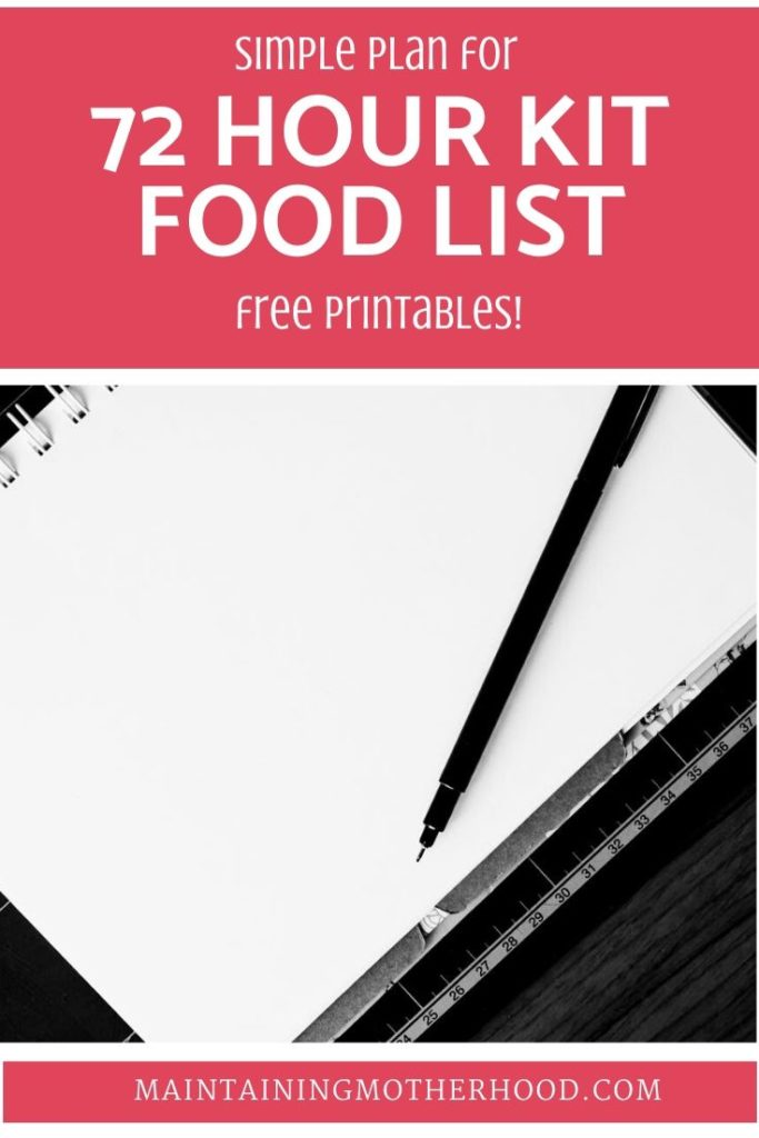 Trying to prepare a 72 Hour Kit Food List? Here is a 3 day Menu, Shopping List, and Calorie Count to easily prepare your family for an emergency!