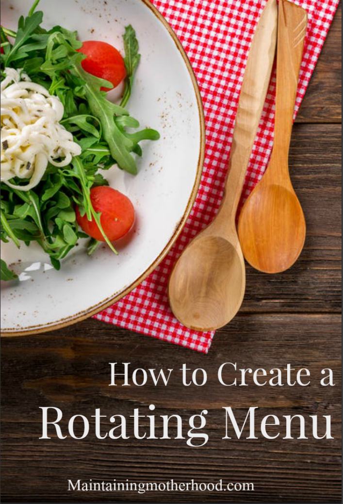 """Do you get tired of getting asked """"what's for dinner""""? Check out this great series on how to build and implement a rotating menu that works for your family!"""