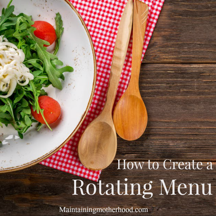 "Do you get tired of getting asked ""what's for dinner""? Check out this great series on how to build and implement a rotating menu that works for your family!"