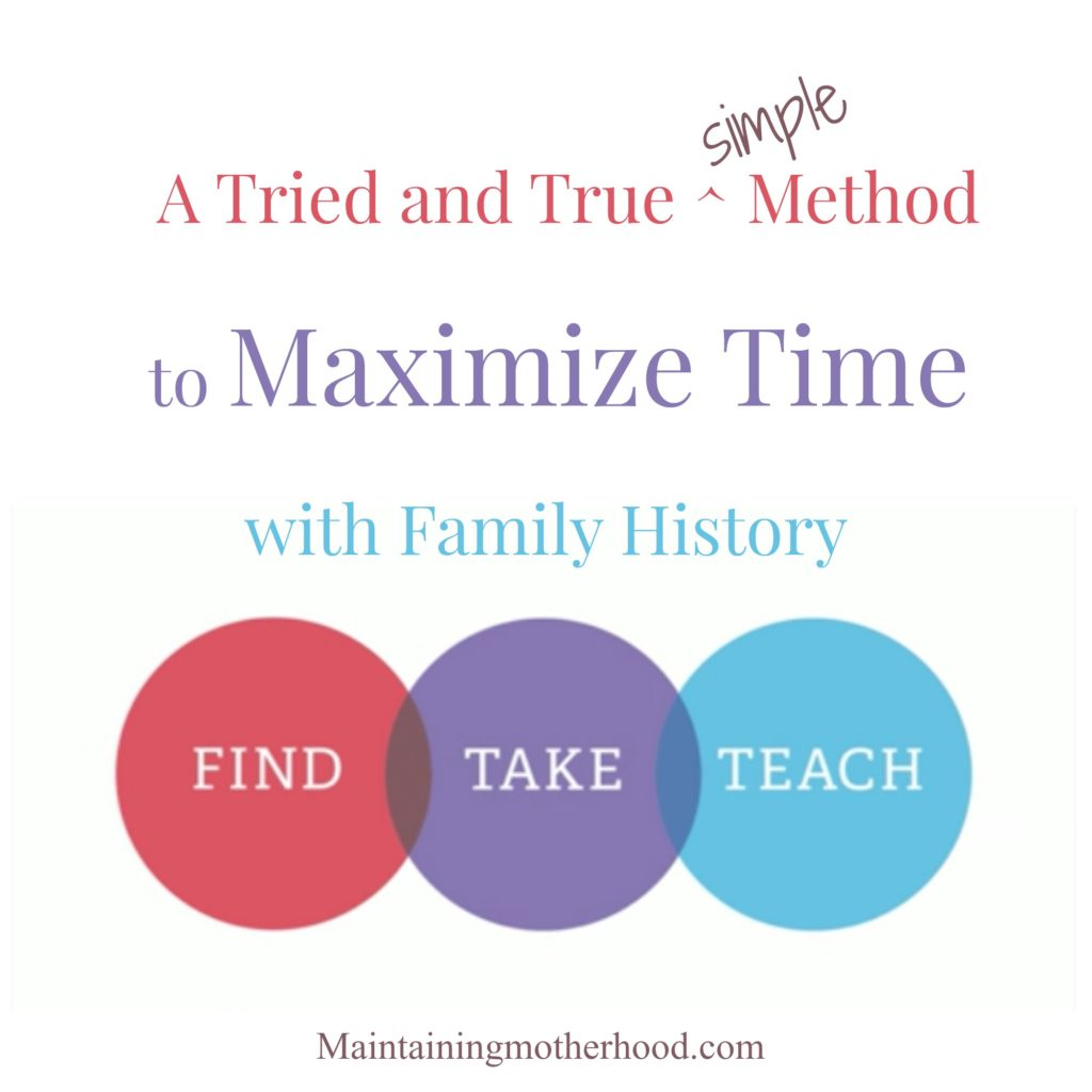 Are you interested in doing Family History work, but don't have much time? Use this tried and true formula to maximize your time to find, take, teach!