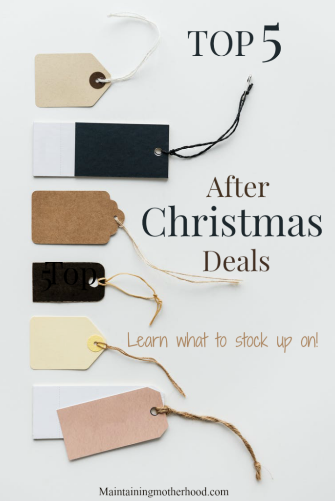 Looking for good after Christmas deals? Here are the top 5 things that I stock up on each year to get bottom dollar prices and simplify life and gift giving throughout the year.