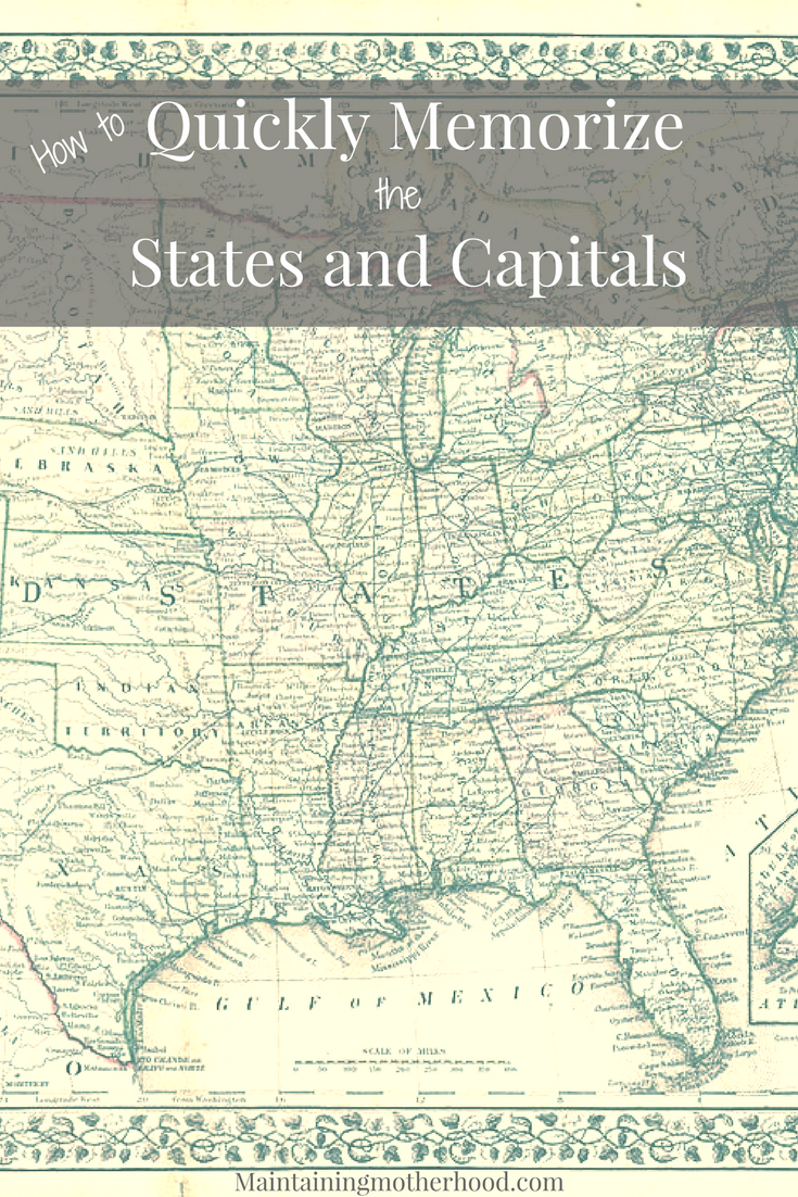 Looking for a trick to quickly memorize States and Capitals? Learn how you can teach even your youngest kids to easily memorize States and Capitals!