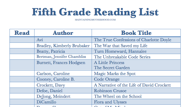 Fifth Grade Summer Reading Book List