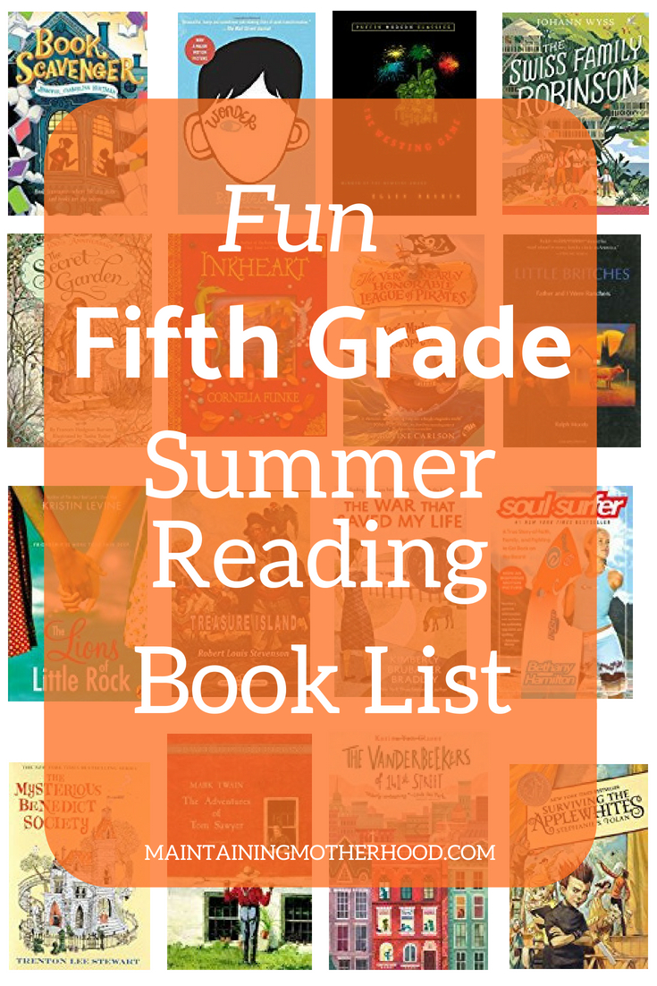 Need some great books for your Fifth Grader to read this summer? Look no further! Get your Fifth Grade Summer Reading Book List here!