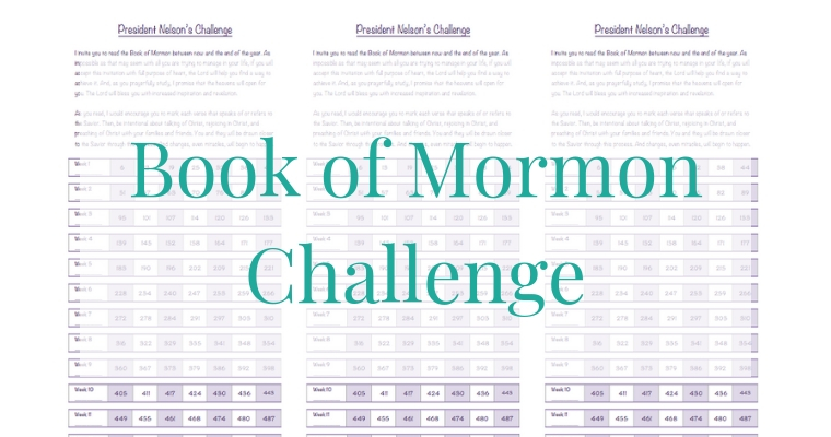 President Nelson 12 Week Book of Mormon Challenge Progress Chart