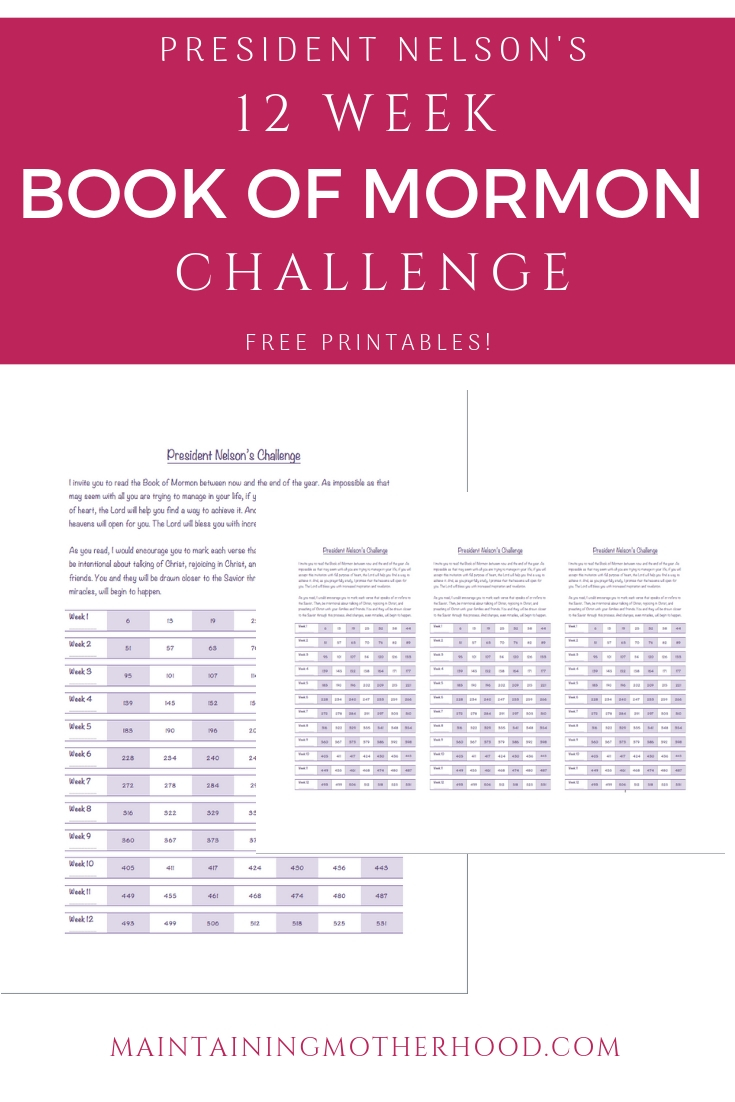President Nelson 12 Week Book of Mormon Challenge Progress Chart