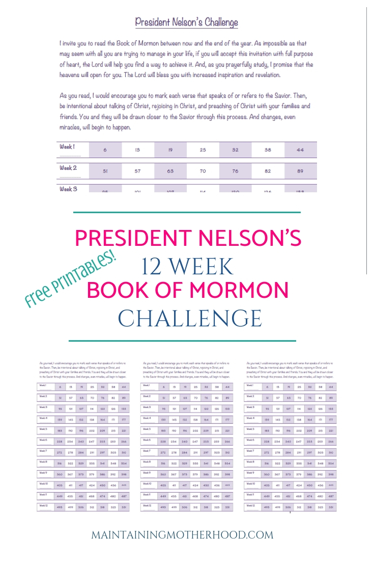 Are you participating in the Book of Mormon challenge? Here is a simple 12 week Progress Chart to help you stay on track!