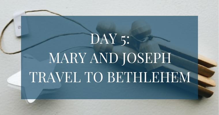 In the Christmas Countdown Book, Day 5 is when Mary and Joseph travel to Bethlehem. See what art, scripture, song, video, and ornament we used to help us remember Christ.