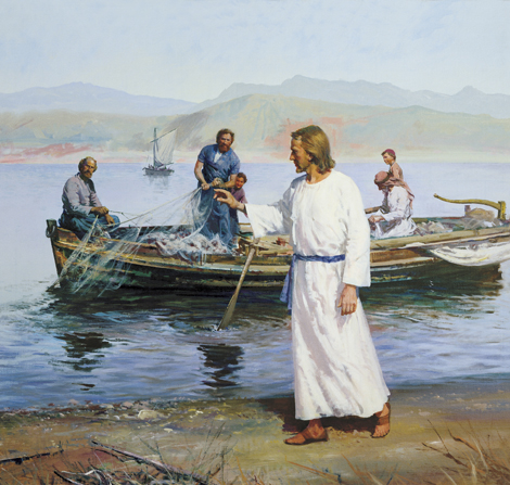 Day 13 in the Christmas Countdown Book is Follow Me, and I Will Make You Fishers of Men. See the art, scripture, song, video, and ornament that help us remember Christ.