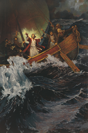 Christmas Countdown Book Day 14: Calming the Tempest. See the art, scripture, song, video, and ornament that help us remember Christ.