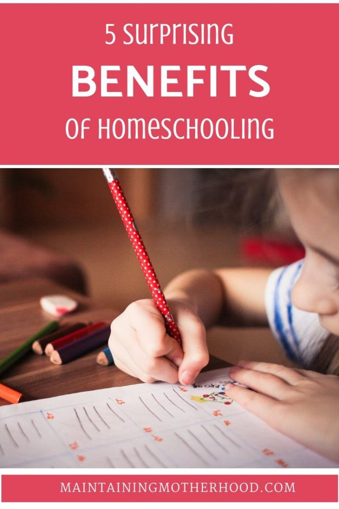 Have you been thinking about homeschool, but the entire thing seems too stressful or overwhelming? Let me tell you about 5 surprising homeschool benefits!